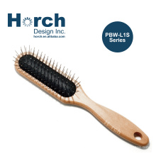 Best Sales Stainless Steel Pin Brush with Wood Round Handle for Pet Home Groom Fast Delivery Low MOQ Sample