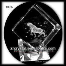 K9 3D Laser Bull Inside Crystal Cube