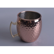 Hammered Metal Candle Jar with Rose Gold Color