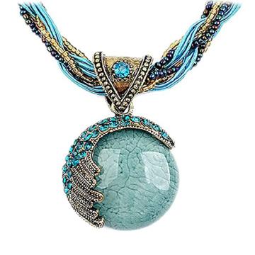 Korean Fashion Bohemian Amber Pendant Multi-layer Seed Bead Inlaid CZ Chain Choker Necklace
