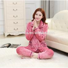 Super Soft Purple Flannel Warm Missy's Home Wear suit wholesale