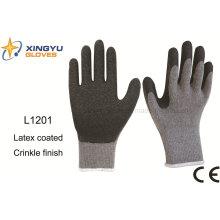 10g T / C Shell látex arrugas guantes de trabajo de seguridad (L1201)