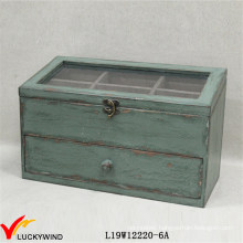 Distressed Green Shabby Chic Jewellery Box with Compartments