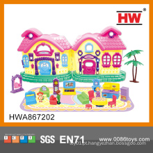 Lovely plástico mini brinquedo casa mobiliário de boneca para meninas
