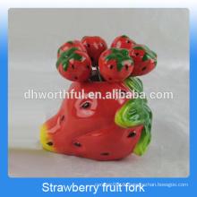Kreative Erdbeer-geformte Fruchtgabel Geschenk-Set in Keramik-Material