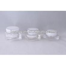 Square transparent acrylic cream jar 15ml 30ml 50ml 75ml 125ml