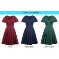 Hanna Nikole Dark Red Short Sleeve V-Neck Plus Size Bridesmaid Swing Summer Dress HN0017-1