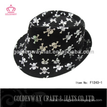 cotton brush fedora hats with fashion skull printing for party hats promotional gift