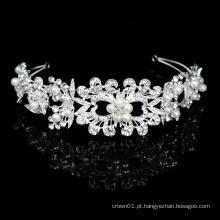 Jóias de prata para cabelo feitas à mão nobre Bling Cristal Pérola Faixas de cabelo de noiva Acessórios para cabeça de casamento Joias de mulher