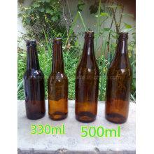 Frasco de vinho de vidro garrafa de cerveja de moda com tampa da coroa
