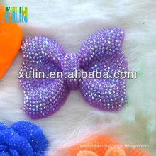 42*54mm neon AB effect resin rhinestone beads purple bow collar