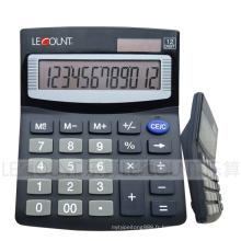 Calculatrice de bureau de taille moyenne de 12 chiffres avec couvercle en aluminium (LC209B-2)