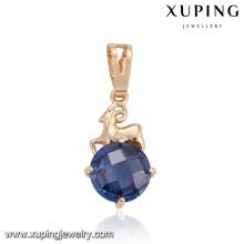32880 Xuping fashionable jewelry China noble gold pendant pave single Synthetic CZ stone