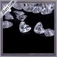 Zircônia cúbica brilhante da forma do coração do corte de Execellent para a jóia