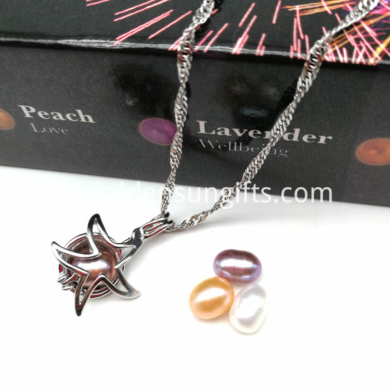Starfish Cage Pendant with Pearl & Chain Necklace