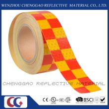 PVC amarelo e vermelho Chequer segurança aviso fita reflexiva (C3500-G)