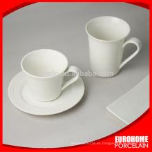 nuevos productos de china para la venta hotel usan juegos de taza de porcelana blanca