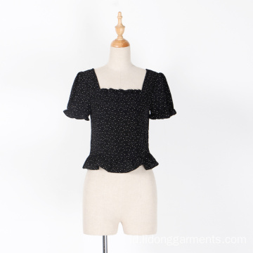Wanita / Girt Dot Chiffon Lace Casual Shout Sleeve Top