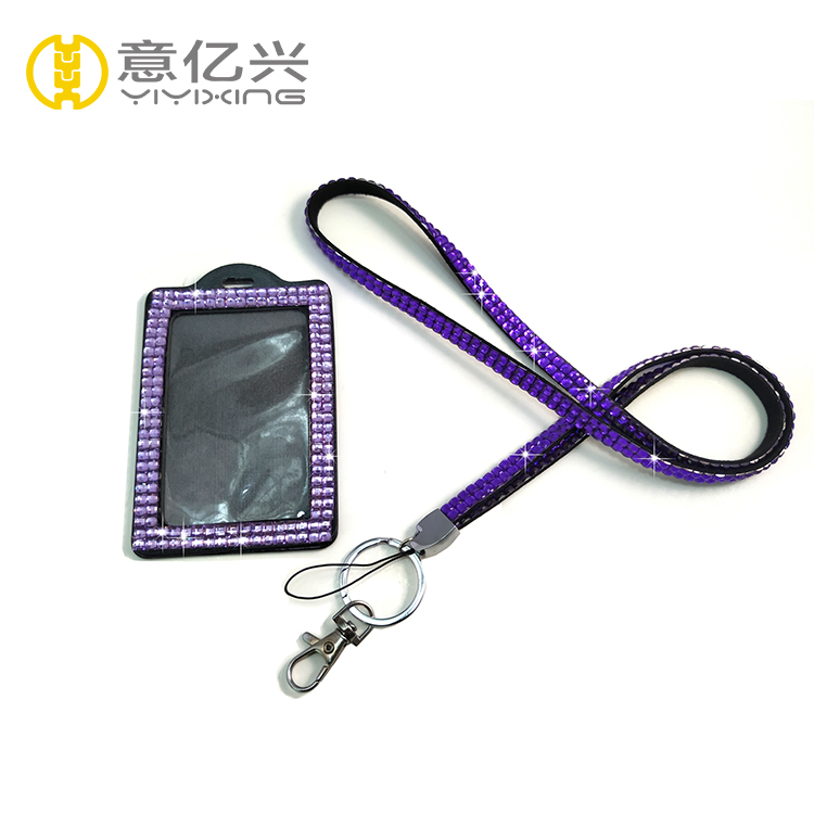 rhinestone lanyard with id badge holder