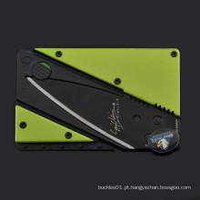 Camping dobrável segurança cartão de crédito pocket facas