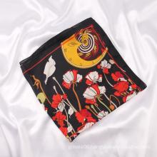 New Trends Spring And Autumn Soft Feeling Shawl Custom Flower Print Silk Satin Scarf 70x70