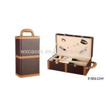 alta calidad portátil cuero vino caja para 2 botellas de China fabricante