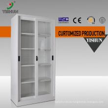 DIY easy assemble 2 door metal sliding glass door display cabinet
