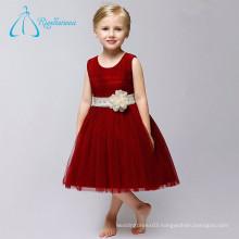 Crystal Bow Flowers Tulle Satin Wedding Flower Girl Dresses