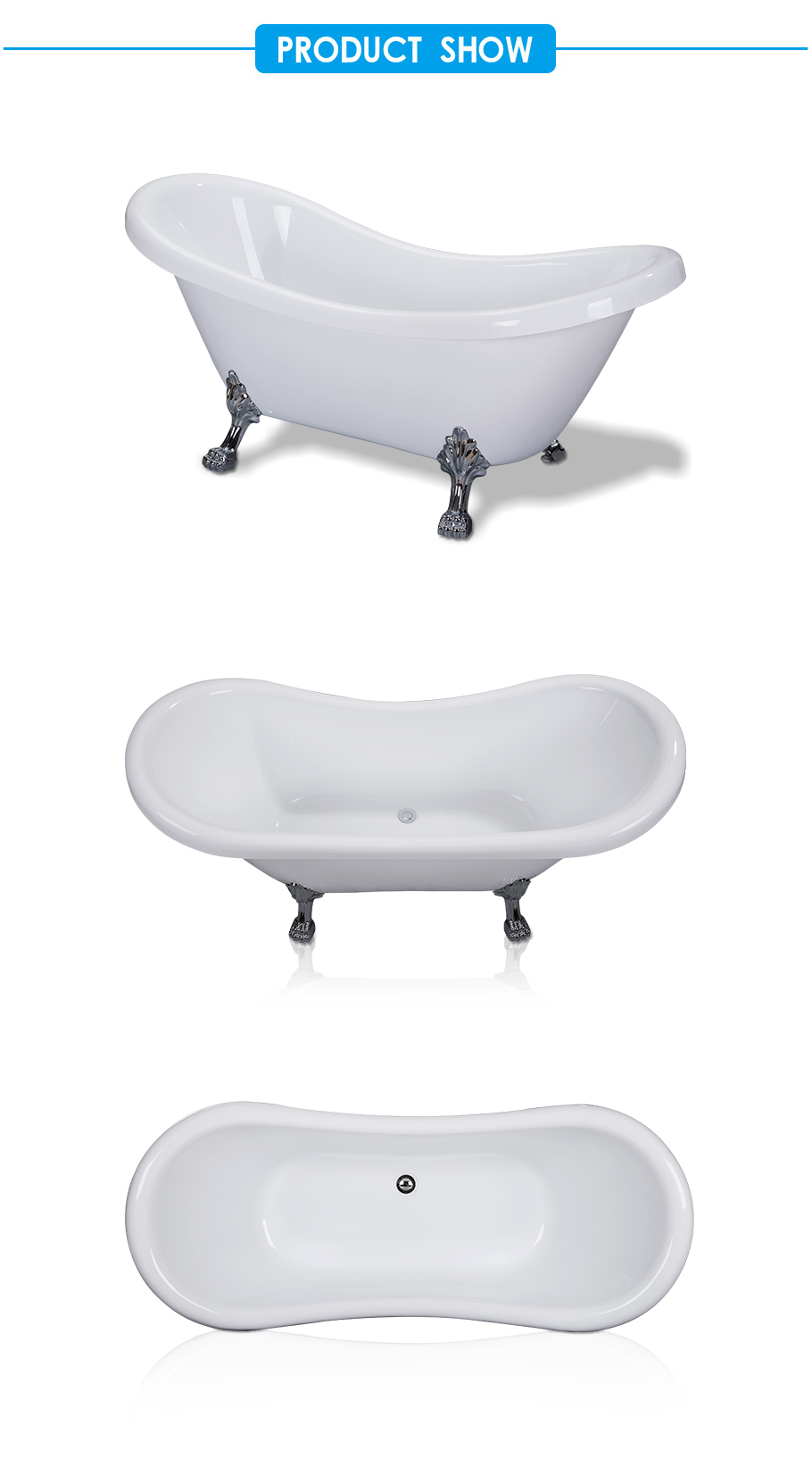 Aqua Acrylic Double Slipper Freestanding Bathtub