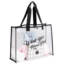 custom woman luxury soft zipper waterproof  transparent clear pvc shopping tote bag
