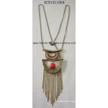 Retro Red Stone Necklace with Metal Tassel