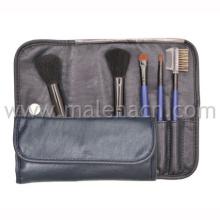 5PCS Make-up cosméticos escova com saco de couro preto