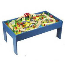 Multi-Activity Wooden Train Table for Train Set Toy