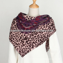 Women Screen Printing Leopard Paisley Wool Square Scarf