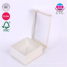высокое качество бумажная коробка белый прямоугольник с ясным окном