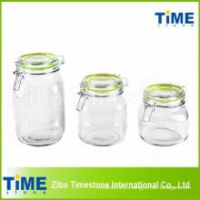 Набор 3PCS круглый стеклянный канистра с зажимом стеклянной крышкой