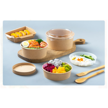 disposable custom printing food packing box container salad bowls kraft paper bowl with lid