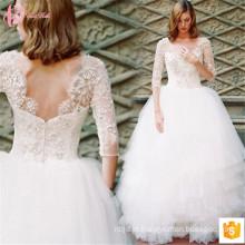 Guangzhou Gowns Vestido de casamento Cinderela nupcial Baixo pescoço com contas de manga longa 2017