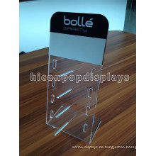 Sunglass Retail Store Acryl Display Rack mit Aluminium Rod, Tabletop Pos Display Sonnenbrille Acryl