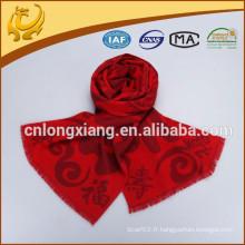 Style Classique Couleur Rouge Forme Jacquard 100% Foulard Viscose