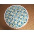 Impression 100% coton 150cm serviettes rondes avec gland
