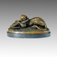 Tier Bronze Skulptur Tiger Verschlingen einer Krokodil Messing Statue Tpal-069