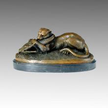 Animal Bronze Sculpture Tiger Devouring a Crocodile Brass Statue Tpal-069