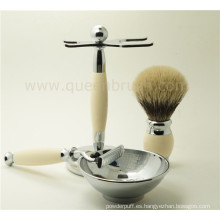 Lujoso kit de cepillo de afeitar del silicón del cuidado del hombre de gama alta con el mejor pelo del tejón