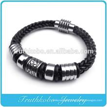 Fashion Vintage Rope DIY Transfer beads leather Bracelets For Woman Wholesale Black Guninue Leather Bracelets