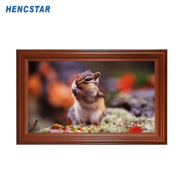 Monitor video iklan bingkai foto kayu 21,5 inci