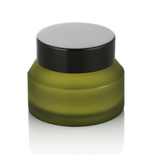 15/20/30/50ml green frosted glass cosmetic jar personal care glass cosmetic jar with black screw plastic cap cream jar hot sale