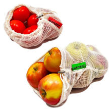 Eco friendly food grade reusable organic cotton mesh drawstring bags for fruits and vegetables