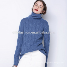 Cable knit turtleneck sweater cashmere loose pullover womens