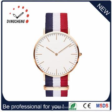 Reloj de acero inoxidable de la muñeca de las señoras del cuarzo de los hombres suizos del dril de algodón de Dw Nylon (DC-295)